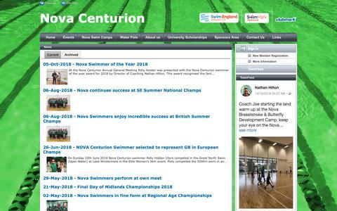 Screenshot of Press Page teamunify.com - Nova Centurion : News - captured Oct. 25, 2018