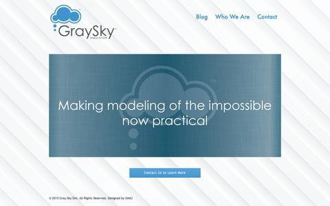 Screenshot of Home Page grayskysim.com - Gray Sky Sim | Making The Modeling of the Impossible Now Practical - captured Sept. 24, 2018
