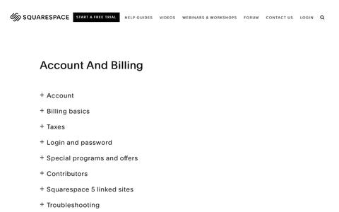 Screenshot of Support Page squarespace.com - Squarespace Help - Account and Billing – Squarespace Help - captured Feb. 11, 2019
