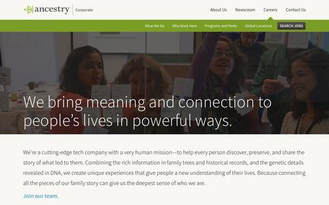 Screenshot of Jobs Page ancestry.com - What We Do | Ancestry Corporate - captured Dec. 17, 2016