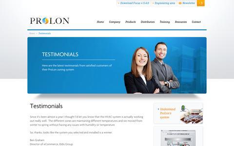 Screenshot of Testimonials Page prolon.net - Testimonials - ProLon - captured Oct. 3, 2014