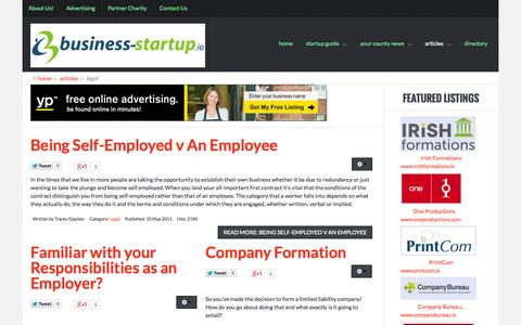 Screenshot of Terms Page business-startup.ie - Legal | Article Manager - captured Nov. 3, 2014