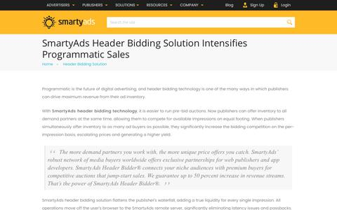 Screenshot of smartyads.com - Header Bidding: Wrapper Solution, Server-Side Header Bidding | SmartyAds - captured May 31, 2017