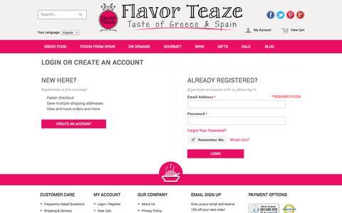 Screenshot of Login Page flavorteaze.com - FLAVORTEAZE - captured Sept. 30, 2014