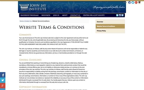 Screenshot of Terms Page johnjayinstitute.org - Website Terms & Conditions  | Contact Us |  John Jay Institute - captured Oct. 7, 2014