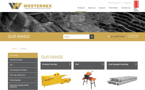 Screenshot of Products Page westernex.com.au - OUR RANGE - captured Sept. 20, 2018