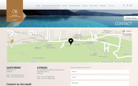 Screenshot of Contact Page mystique.gr - Contact Us | Mystique, A Luxury Collection Hotel - captured Sept. 24, 2014