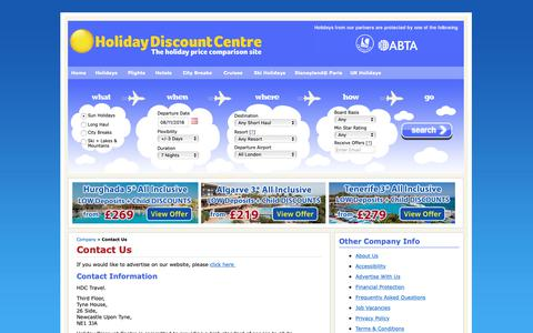 Screenshot of Contact Page holidaydiscountcentre.co.uk - Contact Us - captured Nov. 5, 2018