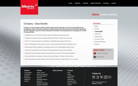 Screenshot of Case Studies Page matrixsys.com - Case Studies: How Matrix Met Clients' Unique Access Control Needs - captured Nov. 28, 2016