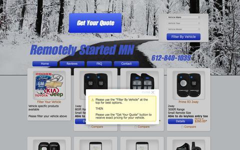 Screenshot of Home Page remotelystartedmn.com - Remotely Started MN - Remote Car Starter Installation in Apple Valley - captured Nov. 8, 2017