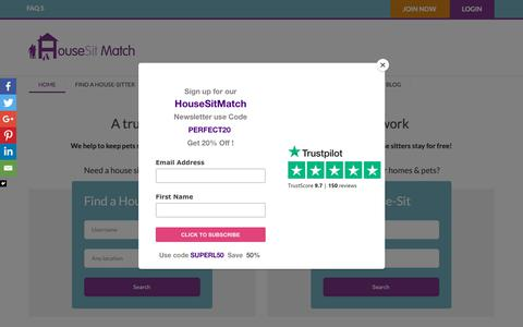 Screenshot of Home Page housesitmatch.com - House Sitters & Pet Sitters- A Trusted Network | Housesit Match - captured Sept. 30, 2018