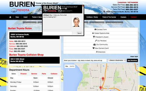 Screenshot of Contact Page Maps & Directions Page burientoyota.com - West Seattle Toyota dealership location | BurienToyota - captured Jan. 7, 2016