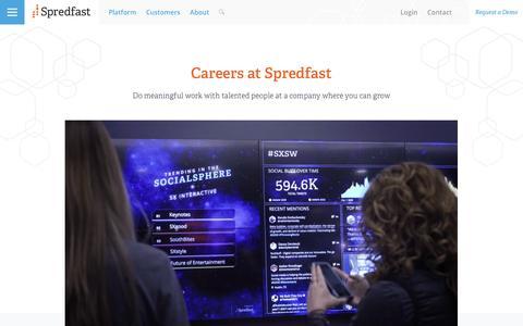 Screenshot of Jobs Page spredfast.com - Social Media Careers | Spredfast - captured July 8, 2016