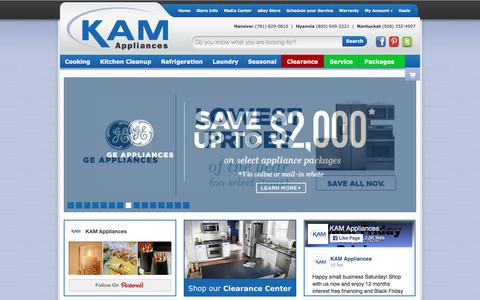 Screenshot of Home Page kamonline.com - KAM Appliances - Appliances in Cape Cod, Boston and Worcester MA - captured Nov. 27, 2016