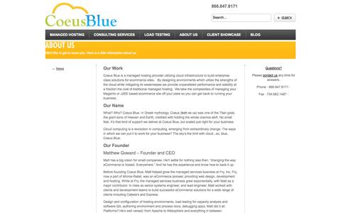 Screenshot of About Page coeusblue.com - About Us-We'd like to get to know you. Here is a little about us. - captured Sept. 30, 2014