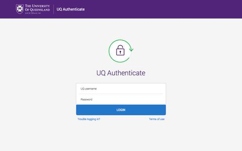 Screenshot of Login Page uq.edu.au - Enter your username and password - The University of Queensland, Australia - captured Nov. 19, 2019