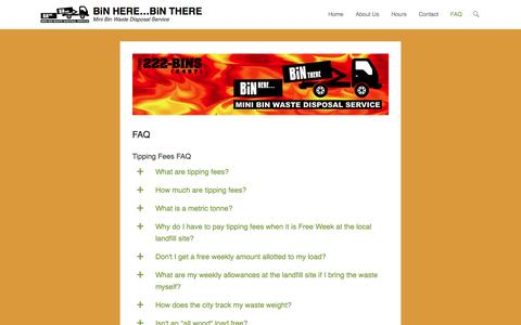 Screenshot of FAQ Page binherebinthere.com - FAQ – BiN HERE…BiN THERE - captured July 29, 2016