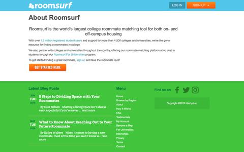 Screenshot of About Page roomsurf.com - About Roomsurf.com | Roomsurf - captured June 7, 2018