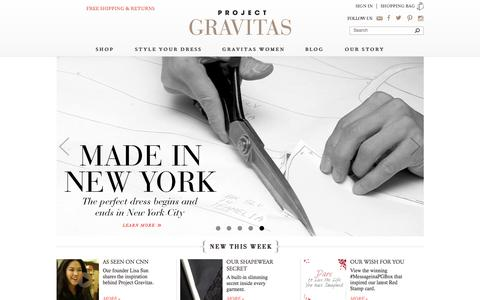 Screenshot of Home Page projectgravitas.com - Project Gravitas | Stunning dresses, Italian fabrics, luxury tailoring, hidden shapewear, and made in NYC - captured Jan. 31, 2016