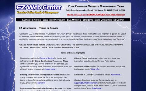 Screenshot of Terms Page ezwebcenter.com - Terms of Service - EZ Web Center - captured May 13, 2017
