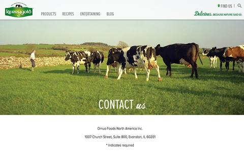 Screenshot of Contact Page kerrygoldusa.com captured Nov. 23, 2015