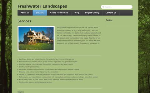 Screenshot of Services Page freshwaterlandscapes.com - Services | Freshwater Landscapes - captured Sept. 30, 2014
