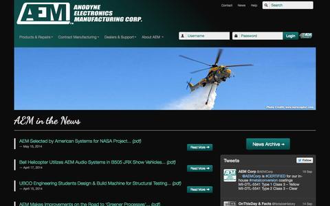 Screenshot of Press Page aem-corp.com - AEM - In the News - captured Oct. 4, 2014