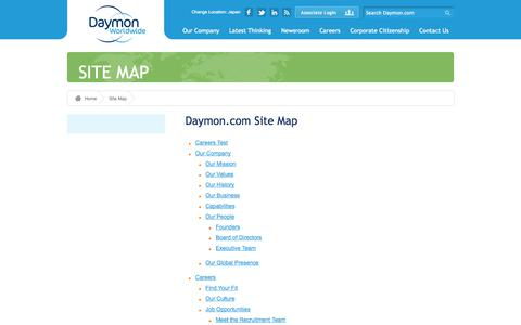 Screenshot of Site Map Page daymon.com - Daymon Worldwide » Site Map - captured Sept. 19, 2014