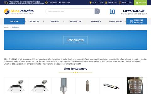 Screenshot of Products Page shineretrofits.com - Energy-Saving Lighting Products - Online Lighting Store | ShineRetrofits.com - captured July 14, 2019
