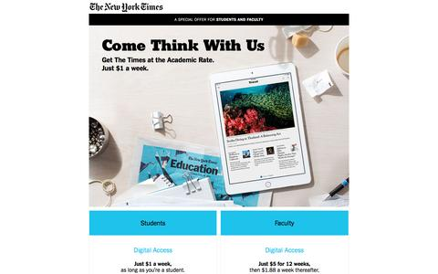 The New York Times Digital Subscription at the Education Rate