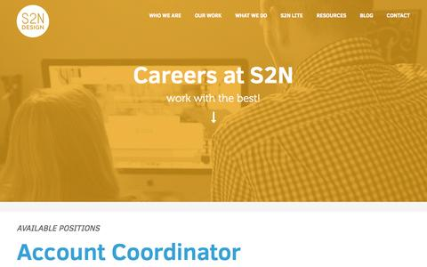 Screenshot of Jobs Page s2ndesign.com - Careers - Memphis Web Design | S2N Design Memphis Web Design | S2N Design - captured Oct. 29, 2014