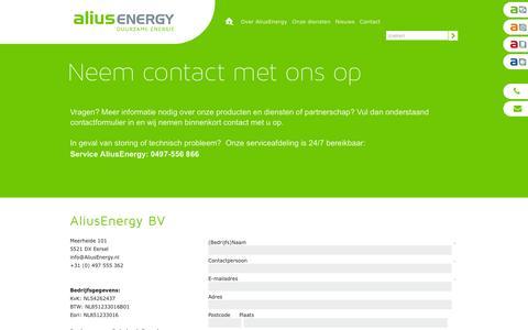 Screenshot of Contact Page aliusenergy.nl - Contact - AliusEnergy - captured Feb. 5, 2016