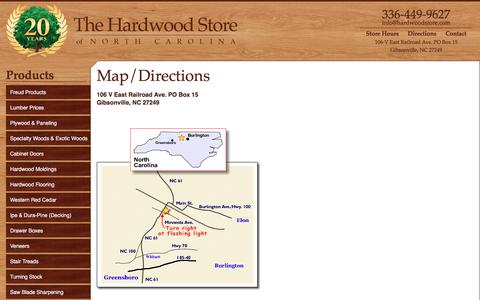 Screenshot of Maps & Directions Page hardwoodstore.com - Map/Directions | The Hardwood Store - captured Oct. 22, 2017
