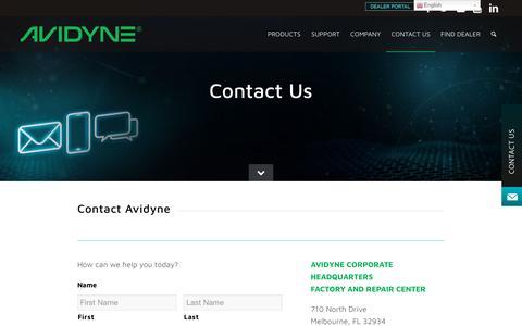 Screenshot of Contact Page avidyne.com - Contact Us - Avidyne - captured Aug. 22, 2019