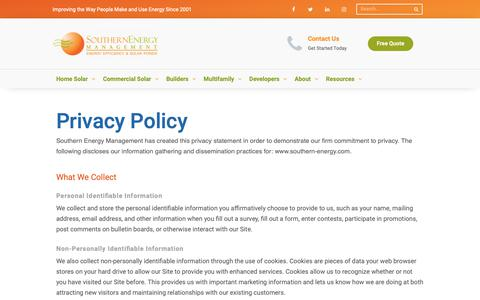 Screenshot of Privacy Page southern-energy.com - Privacy Policy — Southern Energy Management - captured May 29, 2019