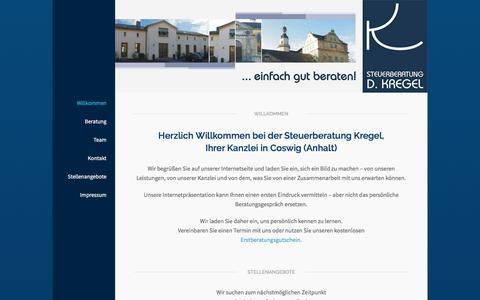Screenshot of Home Page steuerberatung-kregel.de - Steuerberatung Kregel – Coswig (Anhalt) - captured June 8, 2016