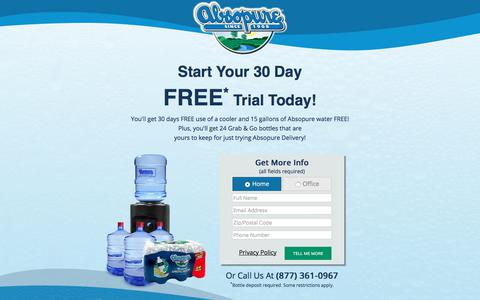 Screenshot of Trial Page absopure.com - Try Absopure Water Delivery FREE for 30 Days! - captured March 29, 2018
