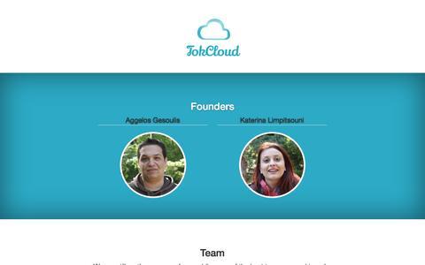 Screenshot of Team Page tokcloud.com - TokCloud - captured Oct. 9, 2014