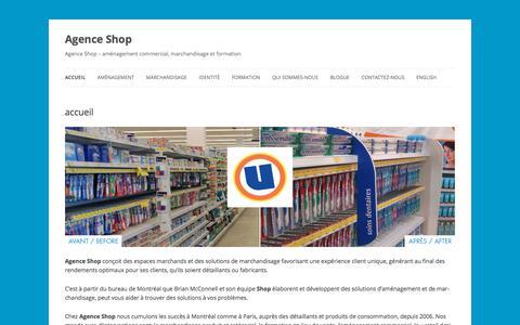 Screenshot of Home Page agenceshop.com - Agence Shop | Agence Shop – aménagement commercial, marchandisage et formation - captured July 29, 2018