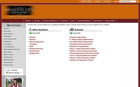 Screenshot of Site Map Page kingstoncityschools.org - Site Map - captured Sept. 22, 2014