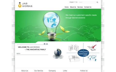 Screenshot of Home Page jasworks.com - JAS Works| Lighted By JAS Works - captured Oct. 4, 2014