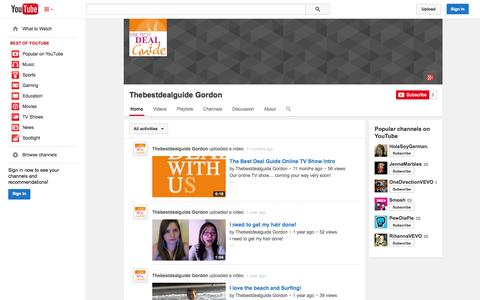 Screenshot of YouTube Page youtube.com - Thebestdealguide Gordon  - YouTube - captured Oct. 22, 2014