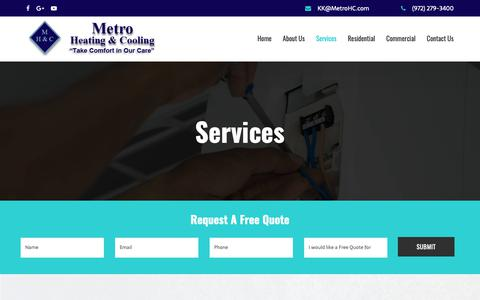 Screenshot of Services Page metrohc.com - HVAC and Air Conditioning Services Dallas, TX | Metro Heating & Cooling - captured Nov. 15, 2018