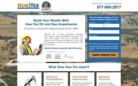Screenshot of Landing Page hew-tex.com - Hew-Tex Oil and Gas Investing - captured Oct. 27, 2014
