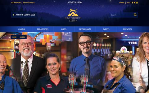 Screenshot of Jobs Page spiritmountain.com - Careers in Grand Ronde, OR | Spirit Mountain Casino | Spirit Mountain Casino - captured June 3, 2018