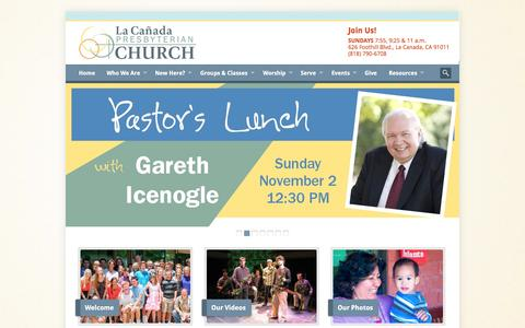 Screenshot of Home Page lacanadapc.org - Welcome - La Cañada Presbyterian Church - captured Oct. 8, 2014