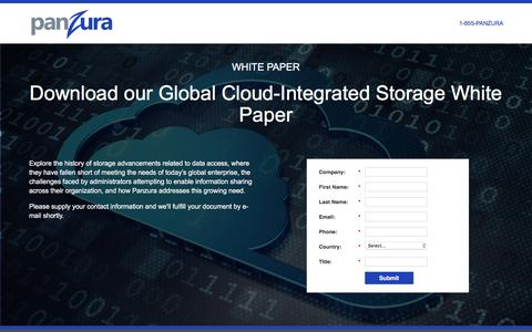 Screenshot of Landing Page panzura.com - Download our Global Cloud-Integrated Storage White Paper - captured Feb. 28, 2017