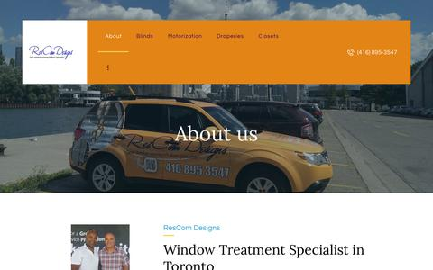 Screenshot of About Page rescomdesigns.com - Window Covering Specialists in Toronto | ResCom Designs - captured Dec. 10, 2018