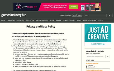 Screenshot of Privacy Page gamesindustry.biz - Privacy and Data Policy | GamesIndustry.biz - captured June 20, 2017