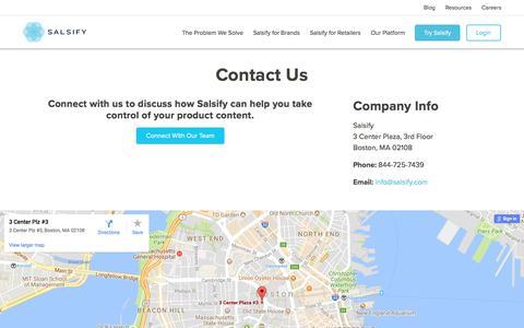 Screenshot of Contact Page salsify.com - Contact Us - captured June 27, 2017